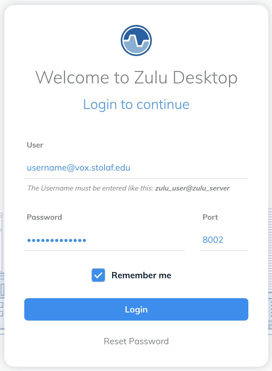 Zulu desktop login window
